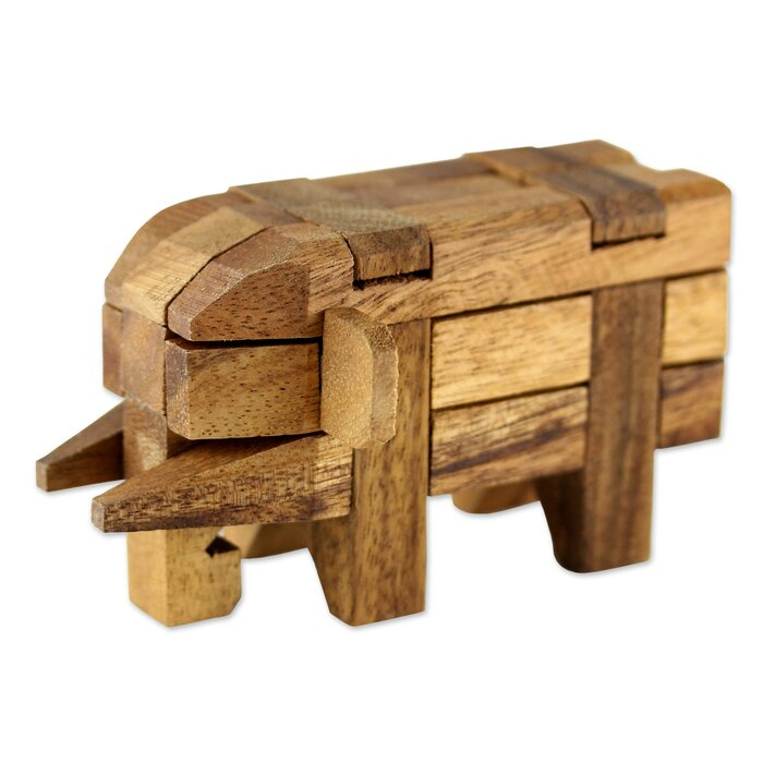 Elephant Wood Puzzle Sculpture