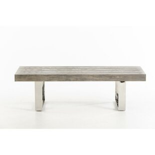 Hume Sleigh-Style Leg Wood and Metal Bench