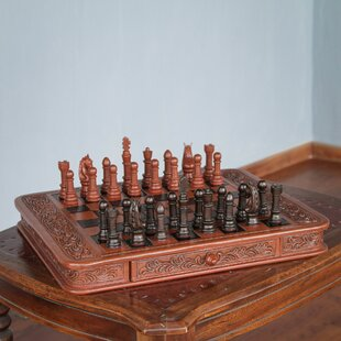 Wilfredo Rios Decorative Handcrafted Peruvian Wood Leather Chess Set By Novica