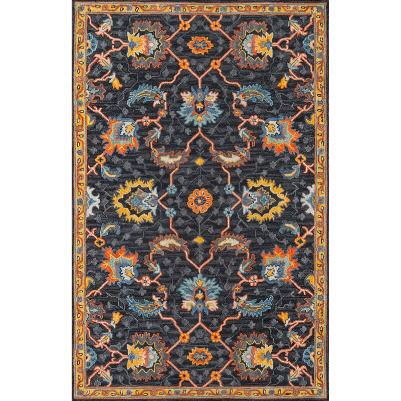 World Menagerie Lancaster Oriental Handmade Tufted Wool Charcoal Area Rug Reviews Wayfair