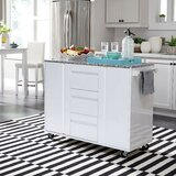 Emblyn Kitchen Island with Cart Granite Top by Latitude Run