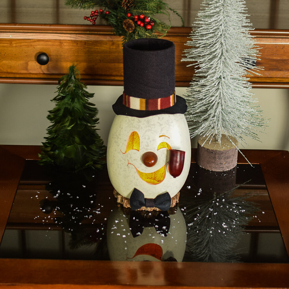The Holiday Aisle Hand Crafted Gourd Large Snowman Head