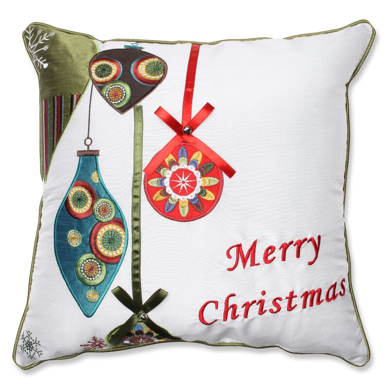 The Holiday Aisle Merry Christmas Ornaments Throw Pillow & Reviews ...