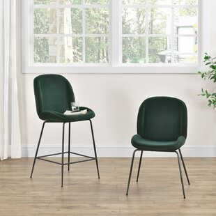 Holstein Velvet Fabric 26 Bar Stool (Set of 2) Wrought Studio