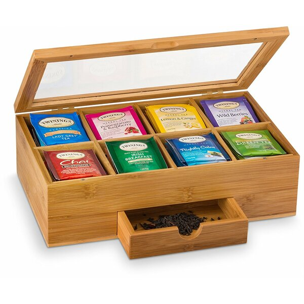 Natural Chest Tea Box 8 Storage Sections Expandable Drawer With Clear Hinged Lid