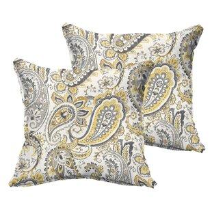 Frosses Paisley Flange Indoor/Outdoor Throw Pillow (Set of 2)