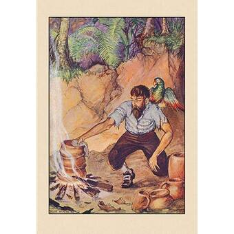 Buyenlarge Robinson Crusoe The Most Hideous Roar By Milo Winter Framed Painting Print Wayfair