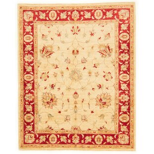 Clinch Hand Knotted Wool Red/Beige Rug by Rosalind Wheeler