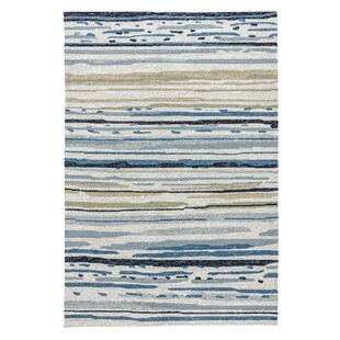 Hand-Hooked White/Blue/Green Indoor/Outdoor Area Rug