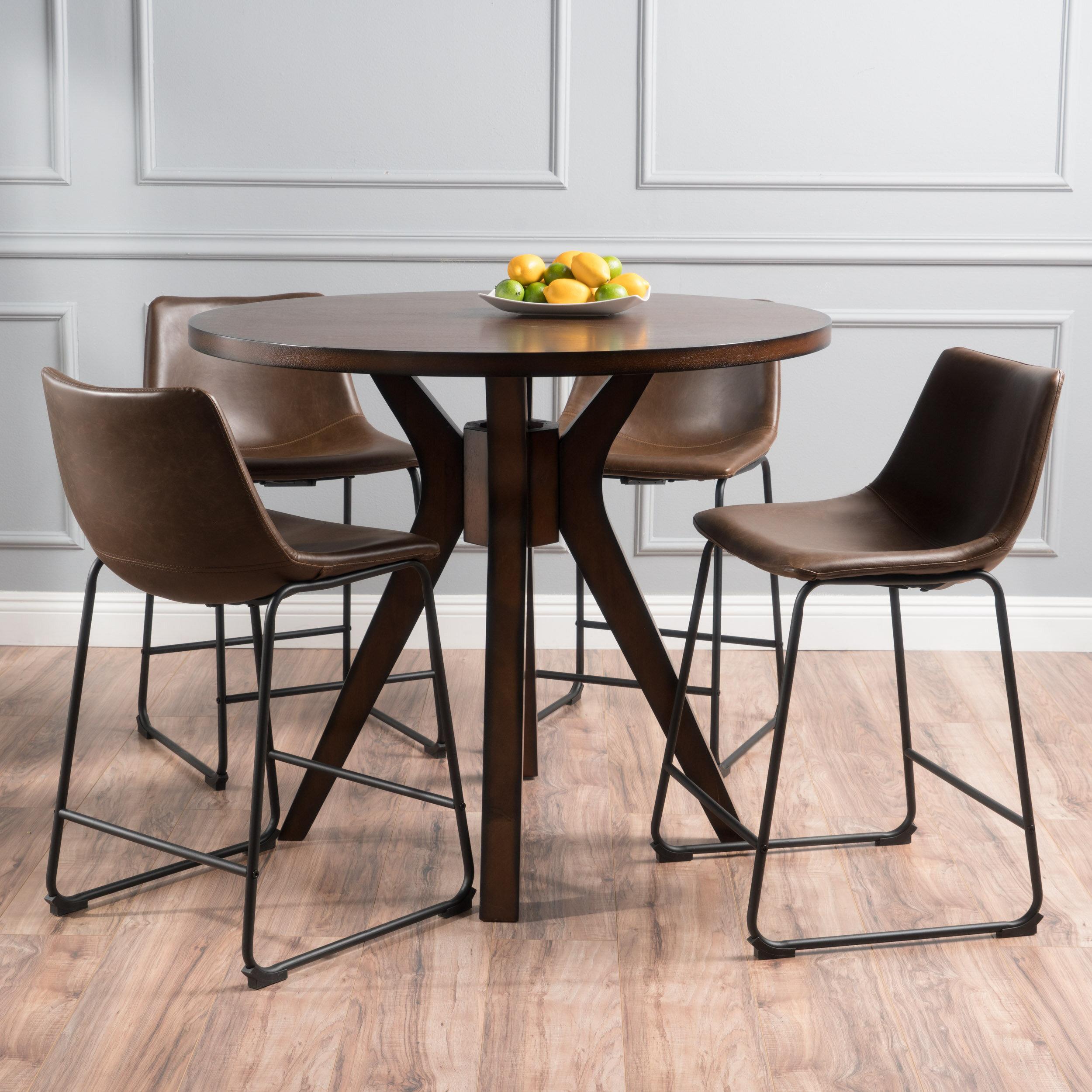 Brayden Studio Maclin Faux Wood Round 5 Piece Dining Set U0026 Reviews | Wayfair