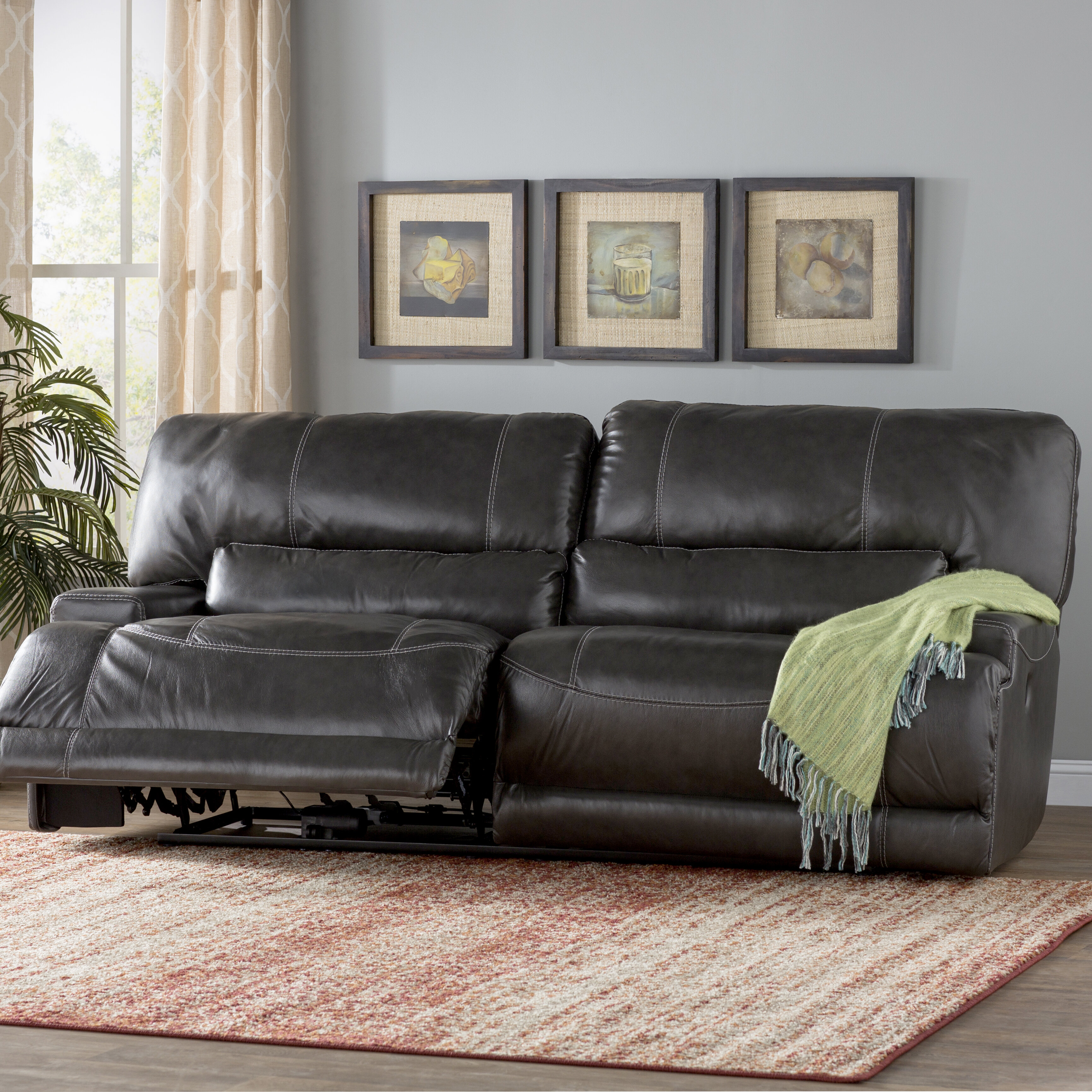 living reclining sofa room brown dual leather at cheers couch and