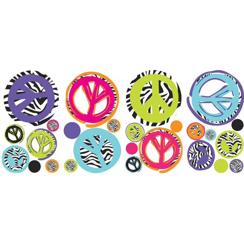 Room Mates Studio Designs Zebra Peace Sign Wall Decal & Reviews ...