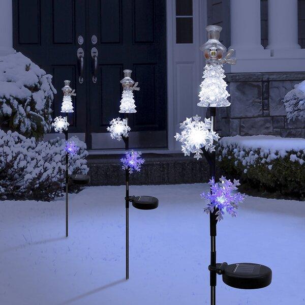 Lighted Staked Snowmen Garden Stake