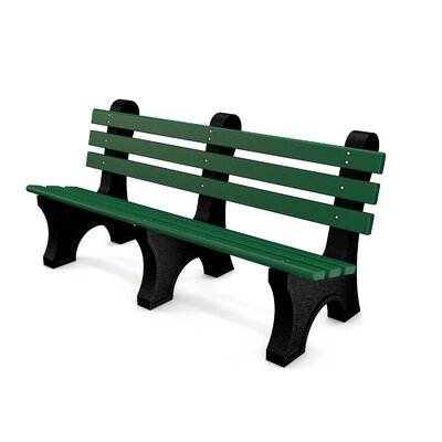 Aiden Recycled Plastic Park Bench Mounting Type: None, Color: Green, Size: 6