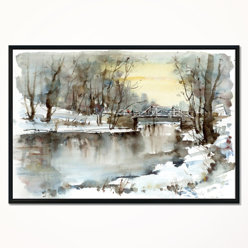 East Urban Home White Bridge Over River Framed Oil Painting Print On Wrapped Canvas Wayfair