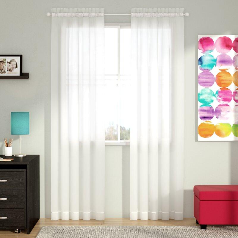 wayfair basics solid sheer rod pocket curtain panels set of 2