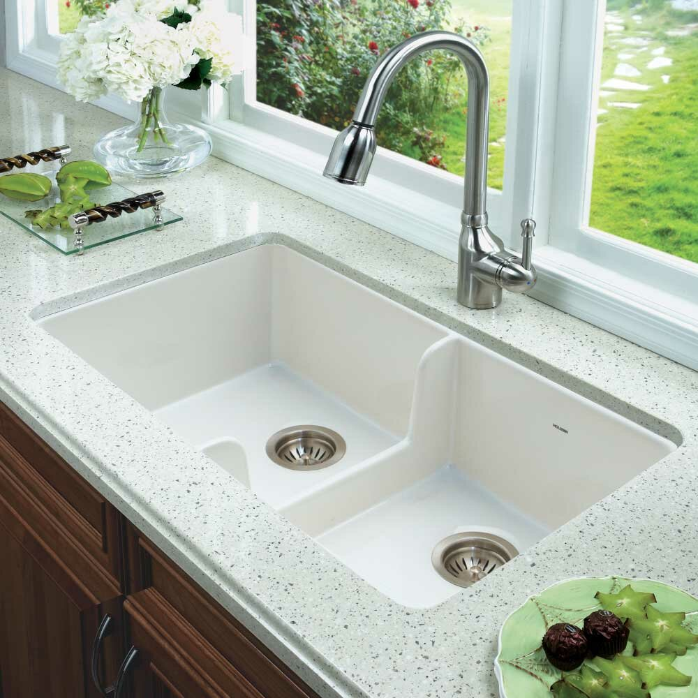 Houzer Platus Fireclay 32 X 18 Double Basin Undermount Kitchen Sink Wayfair