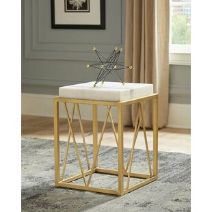Affordable Thorp Square Accent Table White and Gold by Mercer41
