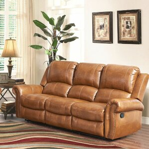 Bitter Root Leather Reclining Sofa by Darby Home Co