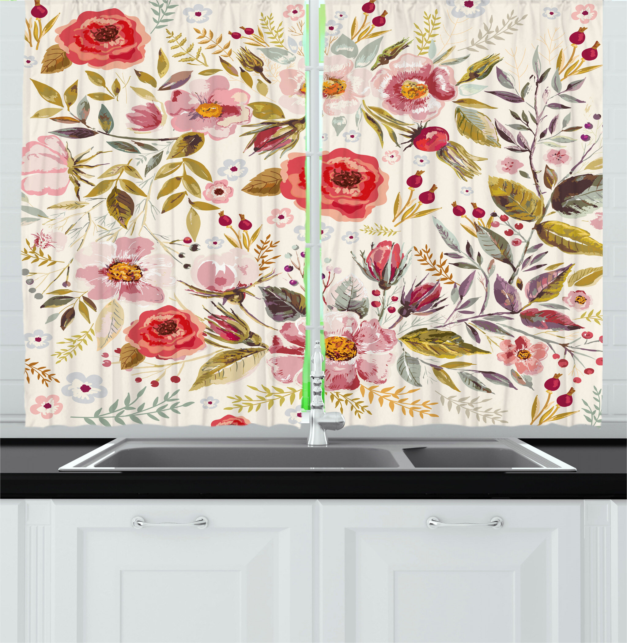East Urban Home Floral 2 Piece Kitchen Curtain Wayfair
