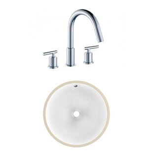 Compare CSA Ceramic Circular Undermount Bathroom Sink with Faucet and Overflow ByAmerican Imaginations