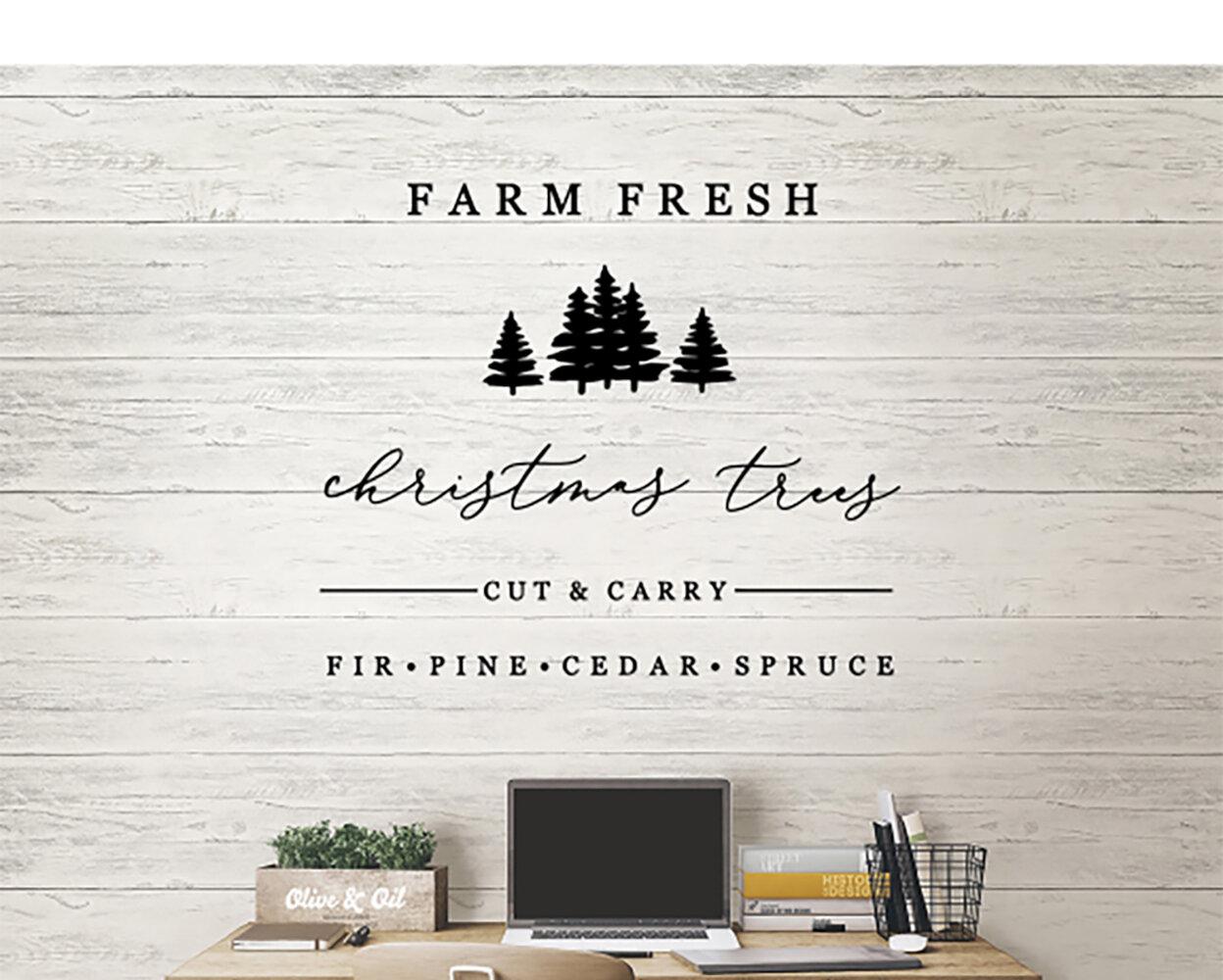 Farm Fresh Christmas Trees Vinyl Words