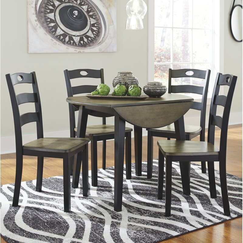 Silver Dining Table And Chairs, Three Posts Penzance 5 Piece Drop Leaf Dining Set Reviews Wayfair
