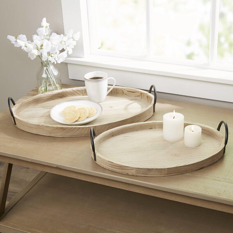 Nemec 2 Piece Wooden Tray Set