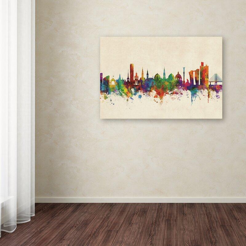Copenhagen denmark skyline iii graphic art print on wrapped canvas