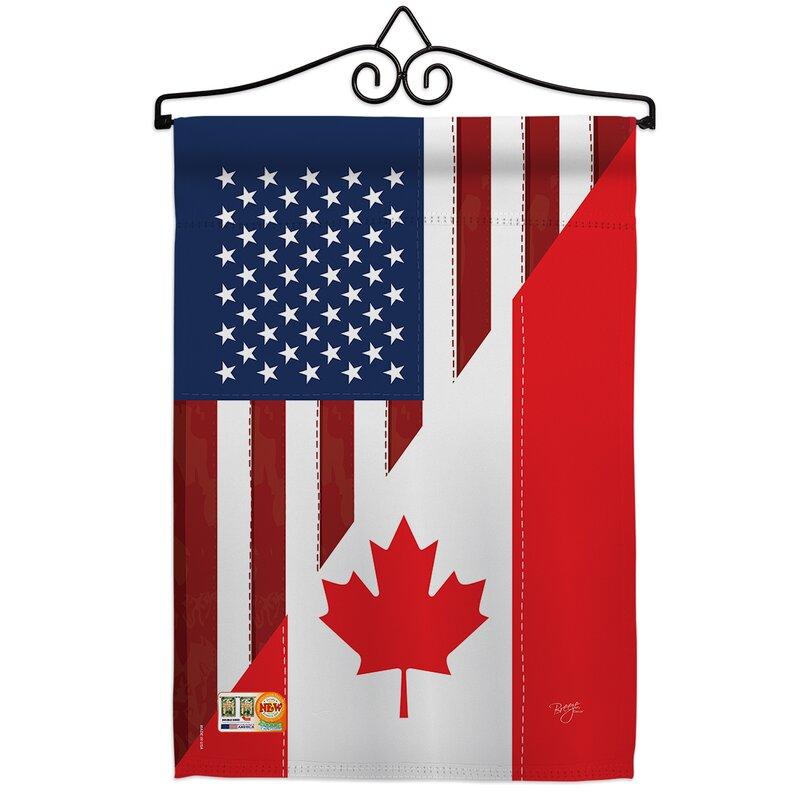 Breeze Decor American Canada Friendship Impressions Decorative 2 Sided Polyester Flag Set Wayfair