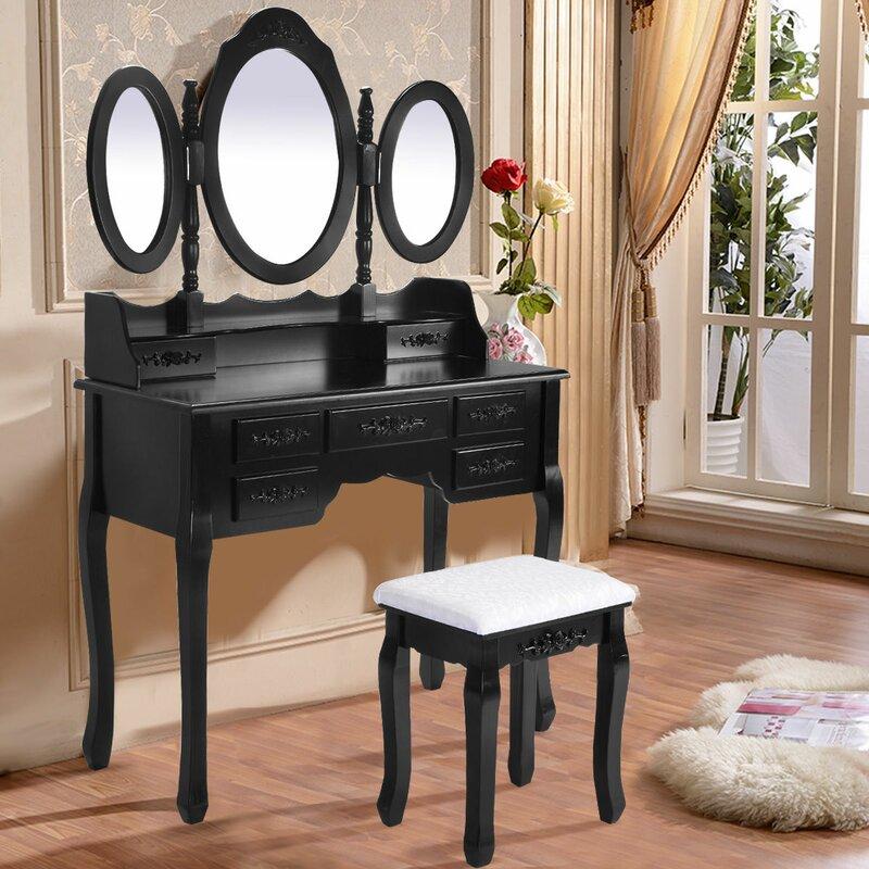 tri fold mirror vanity set. Wilsonville Makeup Tri Folding Vanity Set with Mirror Astoria Grand