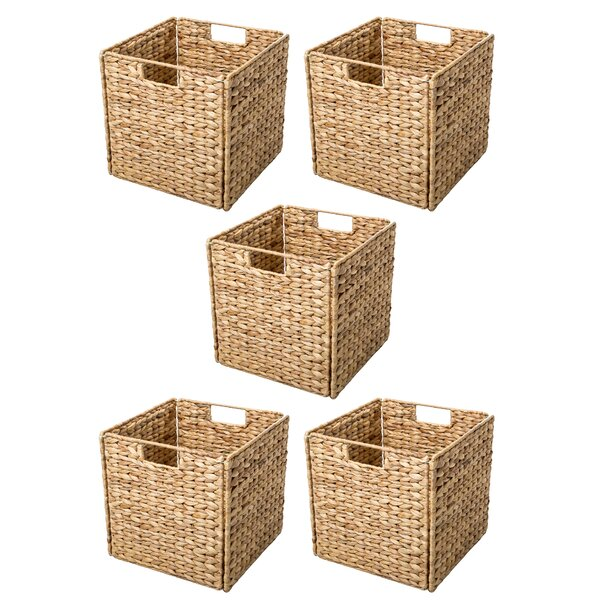 Trademark Innovations Hyacinth Foldable Storage Wicker Basket with Iron Wire Frame u0026 Reviews | Wayfair  sc 1 st  Wayfair : hyacinth baskets for storage  - Aquiesqueretaro.Com
