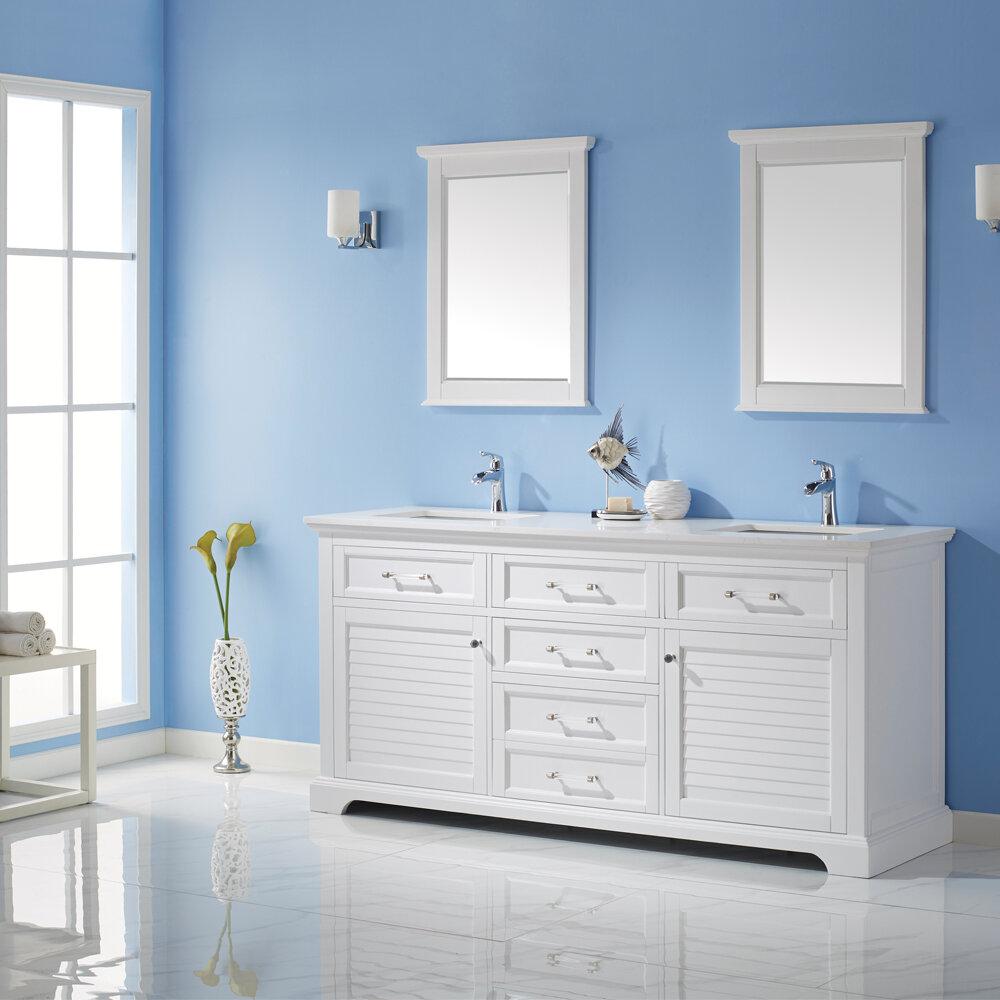 Rosecliff Heights Larry 72 Double Bathroom Vanity Set With Mirror Reviews Wayfair