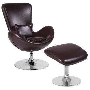 Palisades Leather Guest Chair with Ottoman