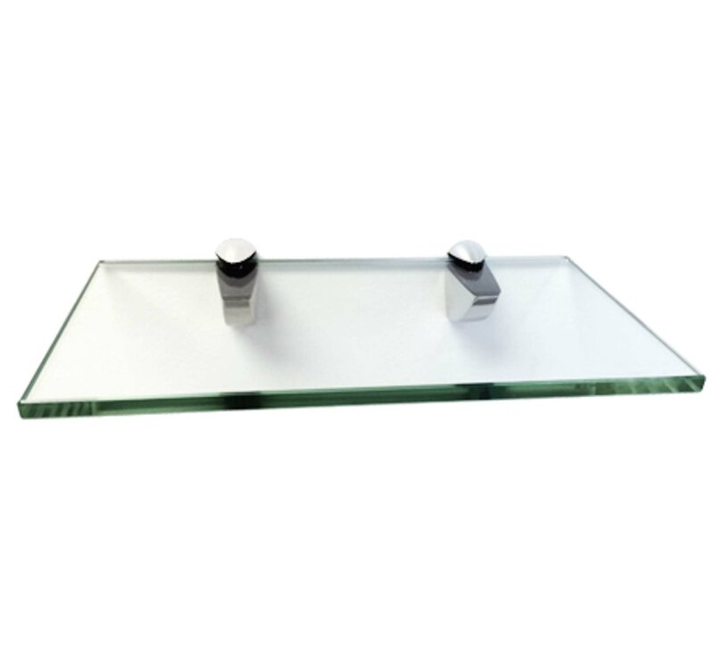 Fab Glass and Mirror Momento Glass Shelf Kit with Chrome Brackets ...