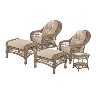 Demopolis Outdoor Garden 5 Piece Seating Group with Cushions