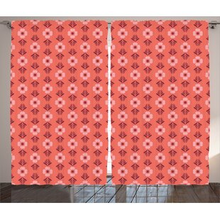 Lined Flower Abstract Room Darkening Rod Pocket Curtain Panels (Set of 2) by East Urban Home