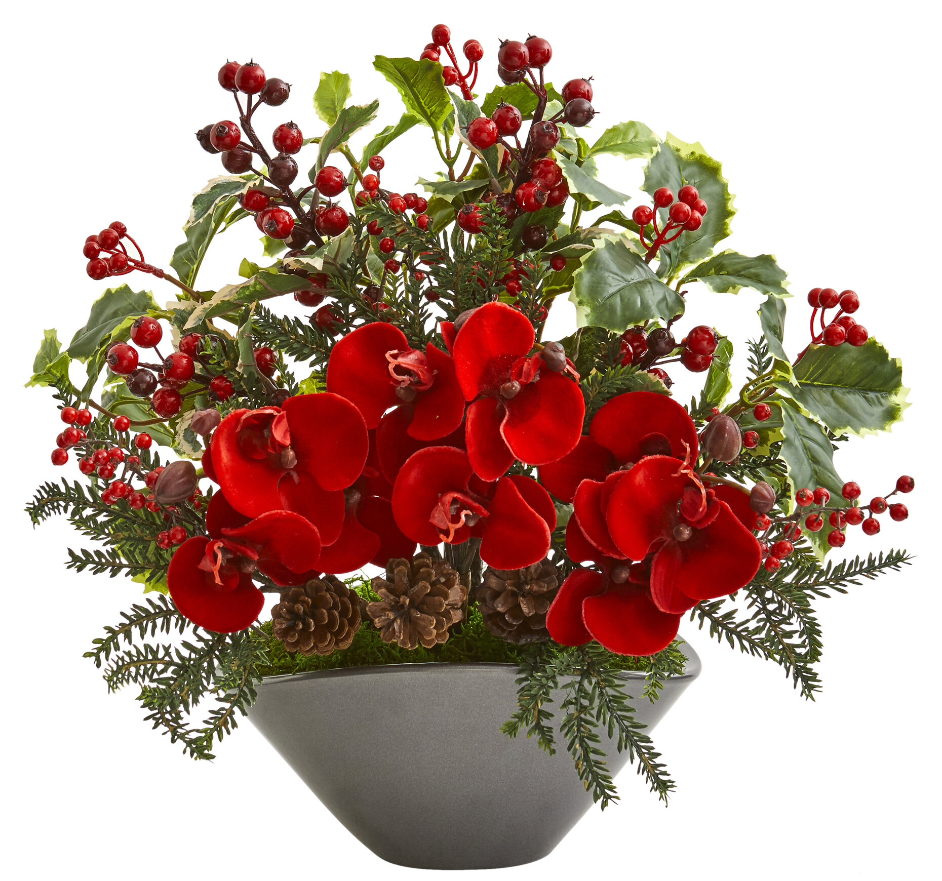 The Holiday Aisle Mixed Floral Arrangement In Planter Wayfair