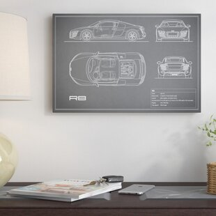 'Audi R8 V10 Coupe' Graphic Art Print on Canvas in Gray ByEast Urban Home