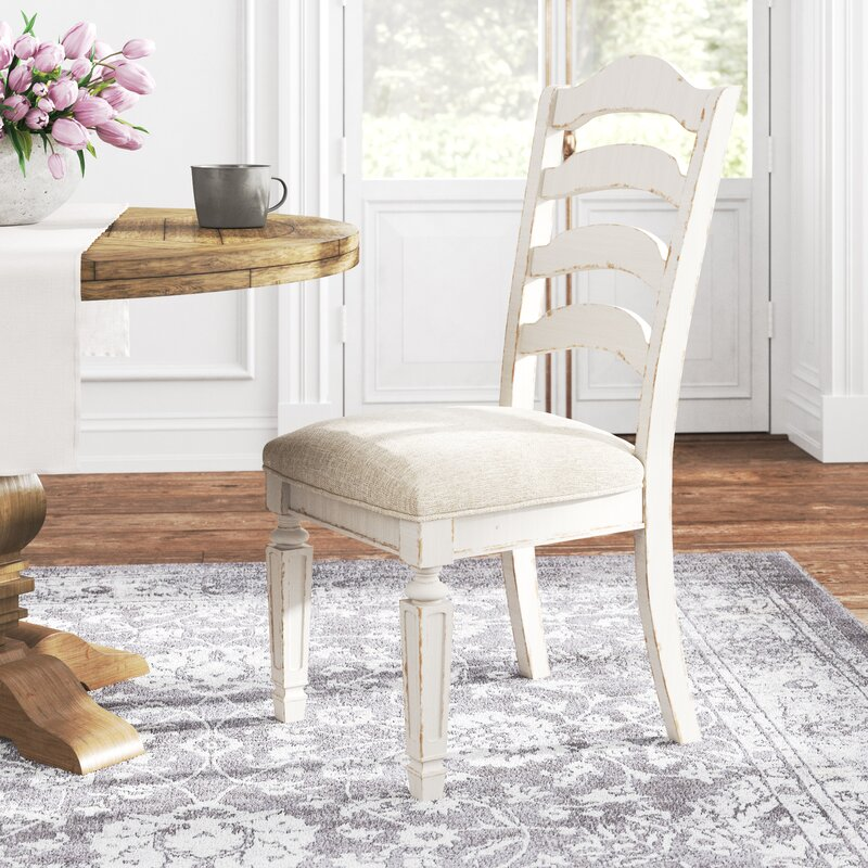 Sara Ladder Back Side Chair in Off-White