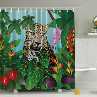 Leopard Uninterrupted Print Single Shower Curtain by Ambesonne Best #1