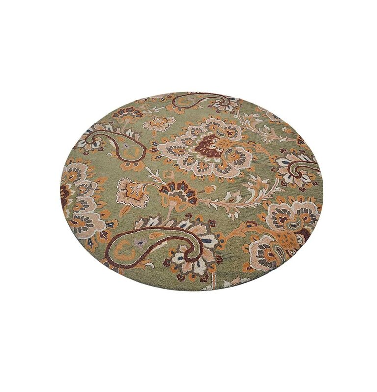 Darby Home Co Jazmin Paisley Hand Tufted Cotton Green Beige Area