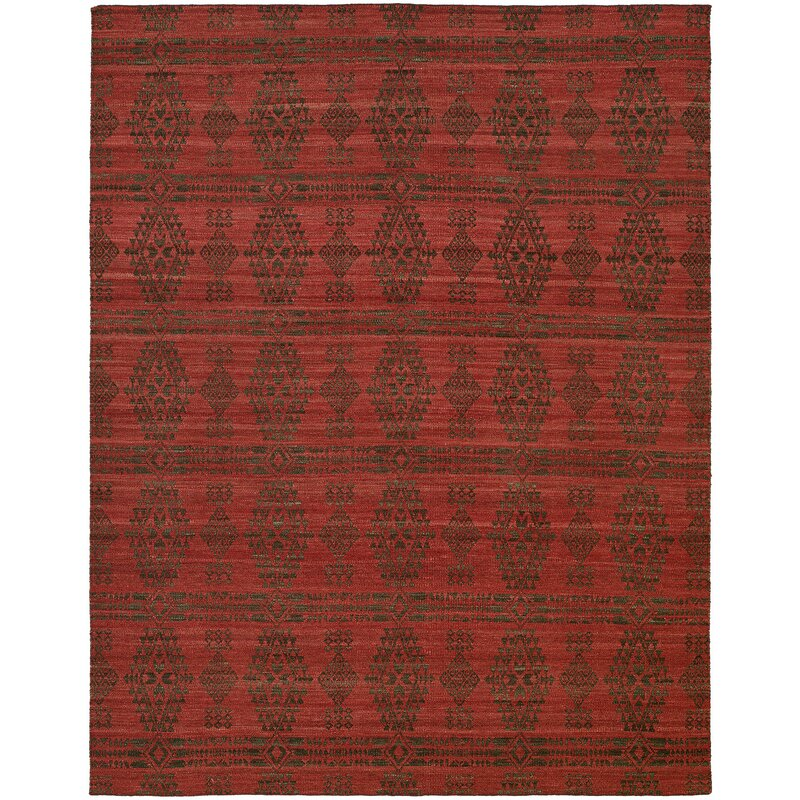 Libbey Handmade Charcoal/Red Area Rug