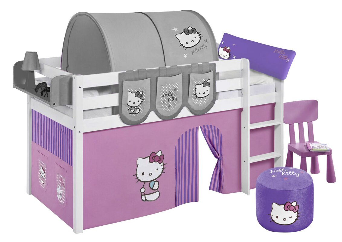 lilokids hochbett hello kitty mit vorhang und lattenrost. Black Bedroom Furniture Sets. Home Design Ideas