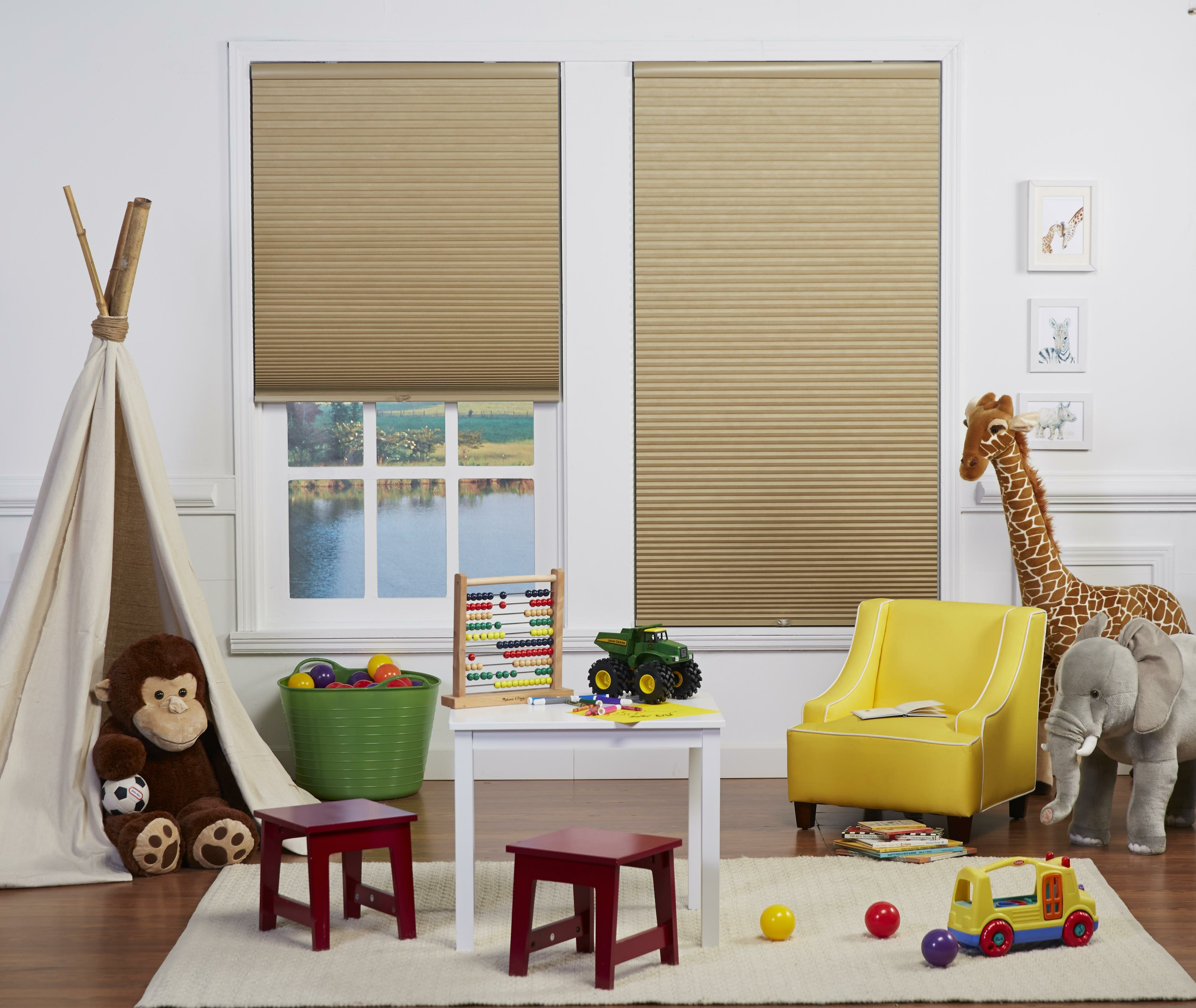 DEZ Furnishings QCLN280720 Cordless Light Filtering Cellular Shade 28W x 72H Inches Linen