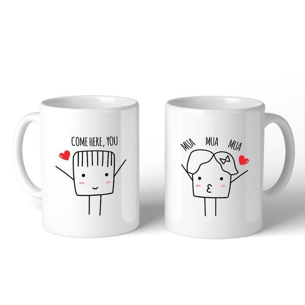 Ebern Designs Henricks Come Here You Mua Mua Mua Couple 2 Piece Coffee Mug Set Wayfair