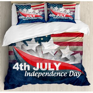 4th of July American Soldiers Standing with US Flag War Save Country Hero Liberty Display Duvet Set by East Urban Home