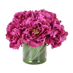 Magenta Peony Bouquet in Acrylic Water Glass Vase
