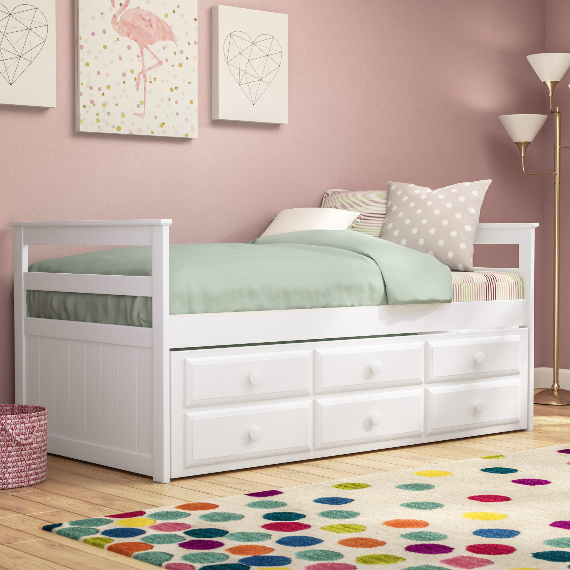 Trundle Bed.Kari Twin Bed With Trundle And Drawers