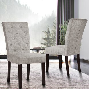 Betteridge Tufted Upholstered Dining Chair in Gray Set of 2 by Red Barrel Studio